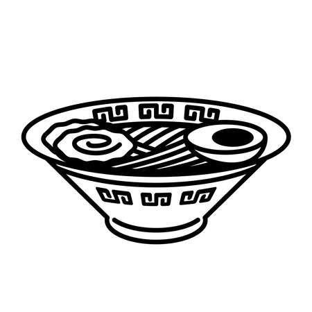 Ramen topped with egg. Foods icons and pictograms.