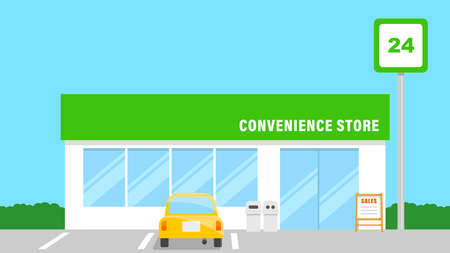 Illustration of a Convenience Store. 24-hour retail store.