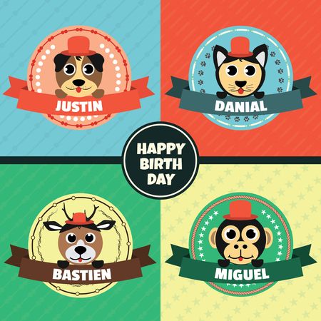 Cartoon Animals Head Label Vector Set, Happy Birthday Card