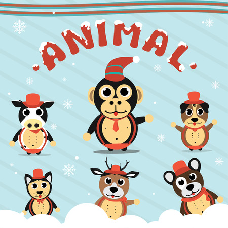 Christmas Animals Collection Set With SnowFlakes