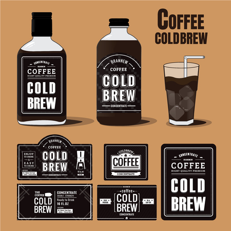 Collection of coffee cold brew labels in bottles and glass 向量圖像