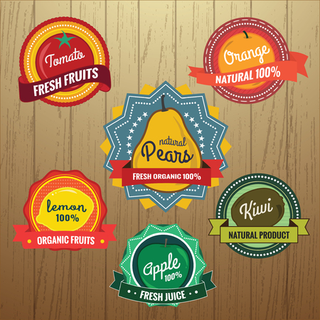 Collection of Retro Fruits Label Design on Wood Background