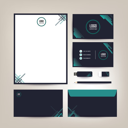 Corporate identity template design with a black and green colors diagonal shapes Business set stationery