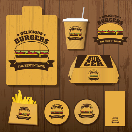 Set of Delicious Burgers Corporate identity on Wood Background 向量圖像