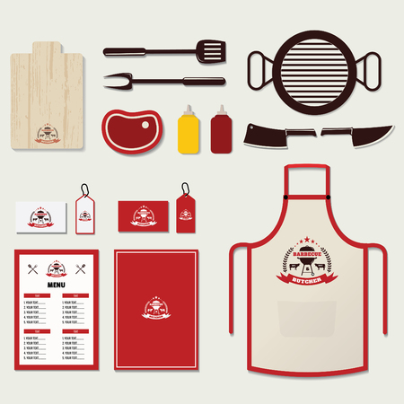 Set of Barbecue Elements and Corporate Brand identity