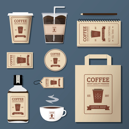coffee shop logo corporate identity template design set