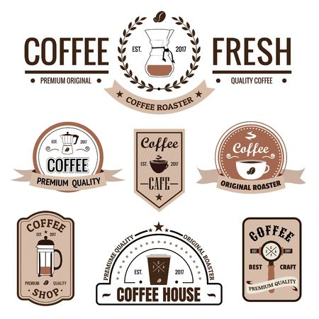 Collection of Coffee Shop Logos and Labels, Vintage style, Badges