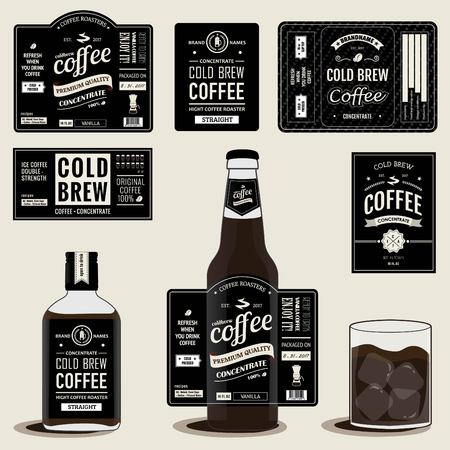 Collection of cold brew coffee labels Vintage Style in bottles and glass