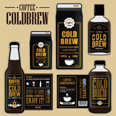 Collection of coffee cold brew labels gold color in bottles and carton Vectores