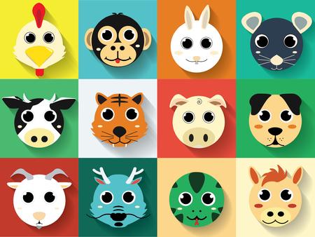 Cartoon Cute Zodiac Twelve Animals Flat long shadows Set