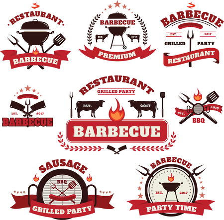 Vector Set of Barbecue  with grill and labels design elements
