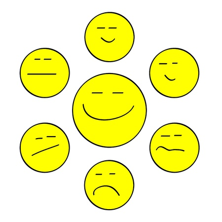 Set of various two-dimension yellow smiles for Internet publications photo