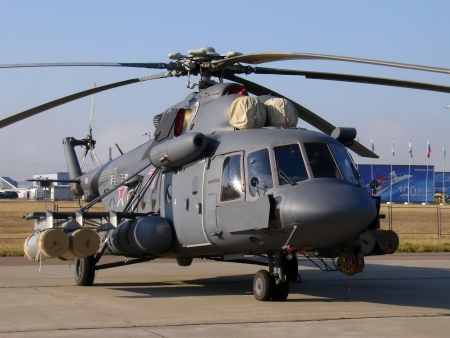 pilotage: Russian military helicopter Mi-8 on airdrome (Russia, Zhukovsky, 12 August 2012)