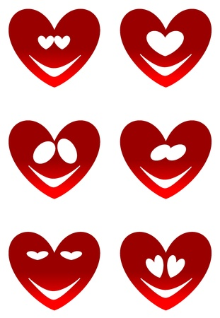 Set of various Valentine red heart smiles Vector
