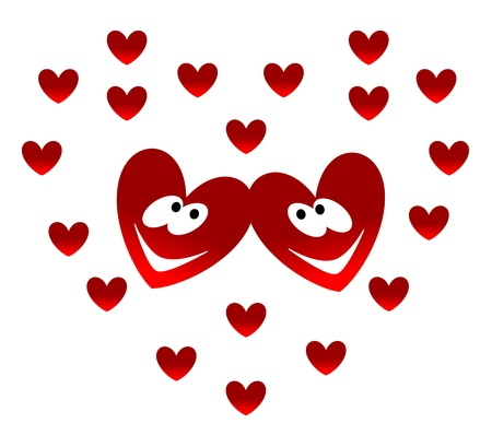 Two Valentine lovers on a hearts background  Vector