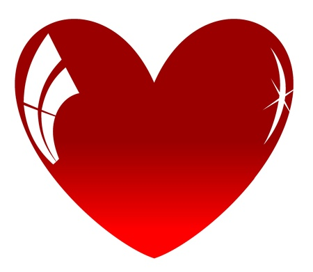 Red heart with shines on a white background Vector
