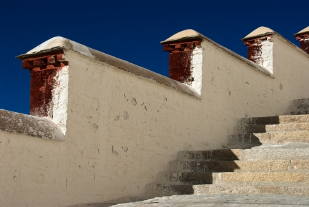 Steep stairs leading to the first floor of Potala palace photo