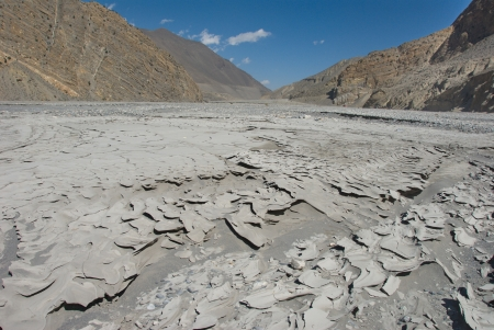 riverbed: Kali Gandaki river valley,view towards Upper Mustang