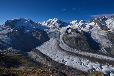 Monte Rosa, Liskamm, Castor and Pollux, Roccia Nera and Breithorn, above Gorner glacier
