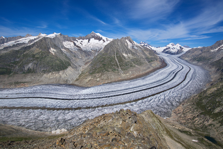 aletsch: Panoramic view of Aletsch glacier from Eggishorn