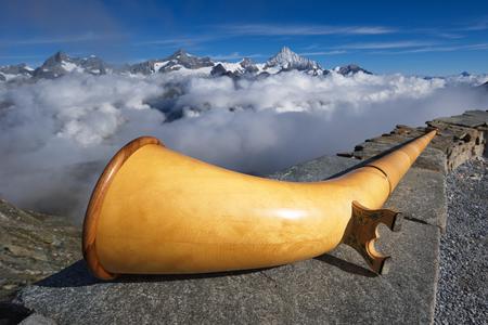 alphorn: Alphorn and mountains around Weisshorn,  from Gornergrat