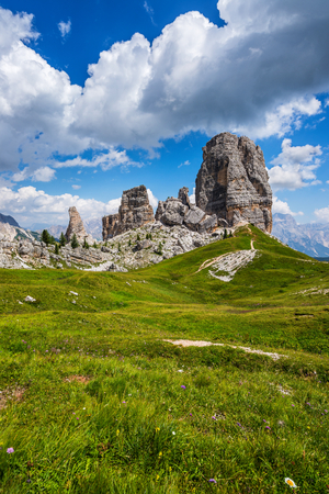 The Cinque Torri group is formed by five towers with a maximum elevation of 2.361 m and 140 m prominence (Torre Grande). Stock Photo