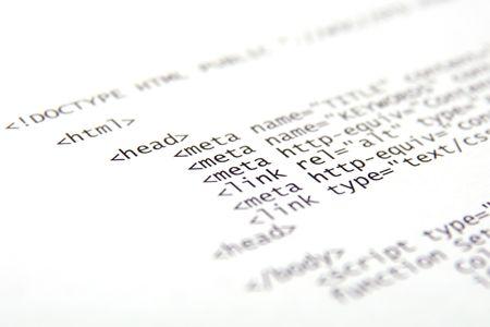 html: Printed internet html code - technology background Stock Photo