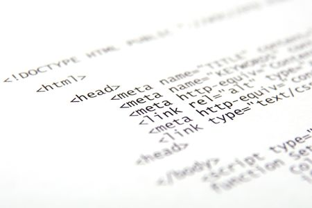 Printed internet html code - technology background Stock Photo