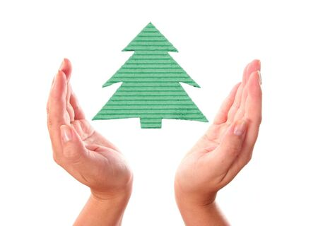 hand with ecology handmade Christmas-tree isolated on white Stock Photo - 3884726