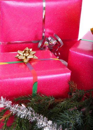 Pink gift box with branch and chain