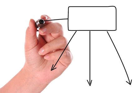 left-handed person drawing a black diagram Stock Photo - 3939925