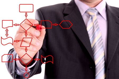 Men drawing a red process diagram Stock Photo - 3939931