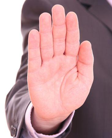 signalering: Heren hand signalering stoppen tegen geïsoleerd op witte achtergrond Stockfoto