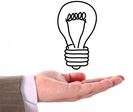 Draw's bulb above hand Stock Photo - 3950739