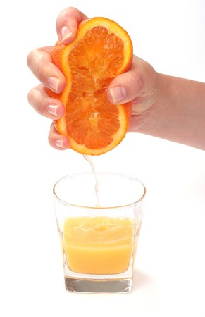 squeezed: jugo de naranja exprimido aisladas en blanco