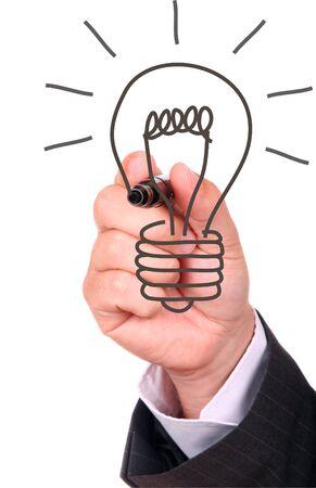 ideas brillantes: Dibujo a mano bombilla
