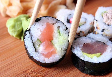 sushi and chopsticks  photo