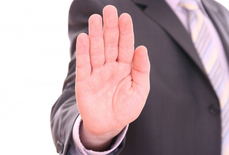 upraised: Mens hand signaling stop