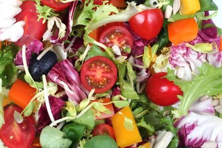 Fresh spring vegetables salad mix, backgorund Stock Photo - 3950880