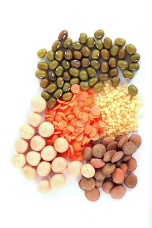 set of beans on white background photo