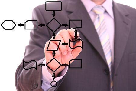 dataflow: Hombre negro dibujo un diagrama del proceso en la pizarra Foto de archivo