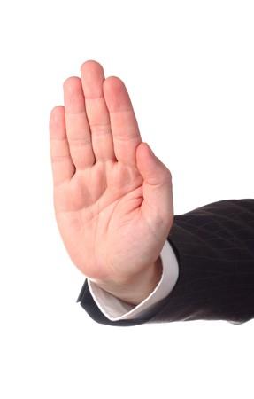 signalering: Mannen hand signalering stop tegen geïsoleerd op witte achtergrond