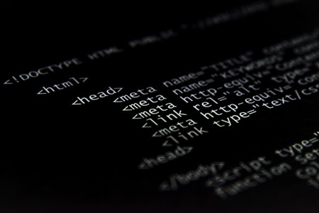 internet html code - technology  black background Stock Photo - 4010012