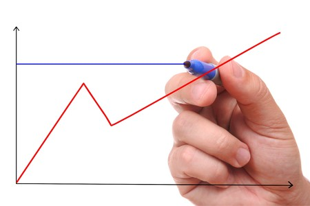 Hand showing graph isolated Stock Photo - 4010035