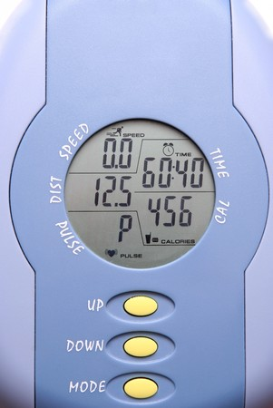 static bike: close up of gym bike meter (lifestyle)