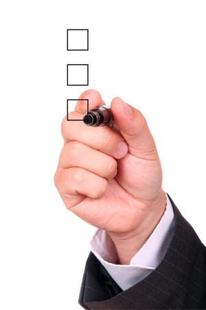 List of checkboxes and hand with pen on white background Stock Photo - 4032557