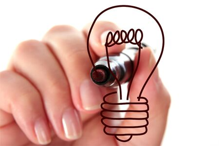hand drawing light bulb isolated on white Stock Photo - 4044659