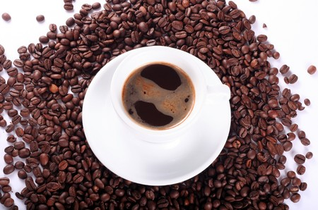 coffees: Cup of aromatic coffee and coffees beans