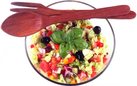 Fresh salad mix in round bowl, isolated, from above Stock Photo - 4086961