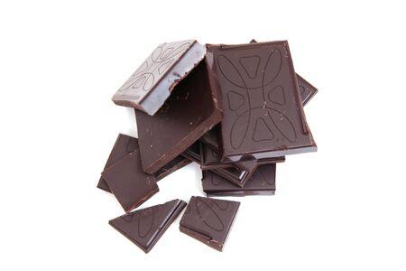 sweet black broken chocolate on white background Stock Photo - 4094276